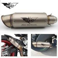 Motorcycle Inlet 51mm exhaust muffler pipe with db killer 36mm connector for suzuki gsr 600 yamaha mt 07 ktm duke 390 bmw gs