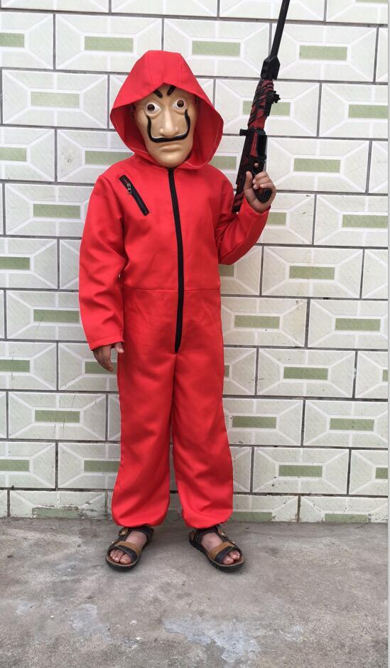 2 stücke Kinder Kostüm Salvador Dali Cosplay Film Maske Geld Heist Die Haus von Papier La Casa De Papel Cosplay kostüm + Gesicht Maske