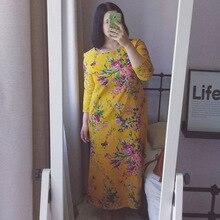 Romacci Vintage Women Maxi Floral Dress Long Sleeves Pockets O Neck Plus Size Cotton Linen Dress Loose Big Size Dress Robe Femme