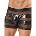 Men Black Vinyl Boxer Underwear Transparent Mesh Patchwork Hollow Out Sexy Underpants Breathable Comfortable Erotic Boxers M-XL