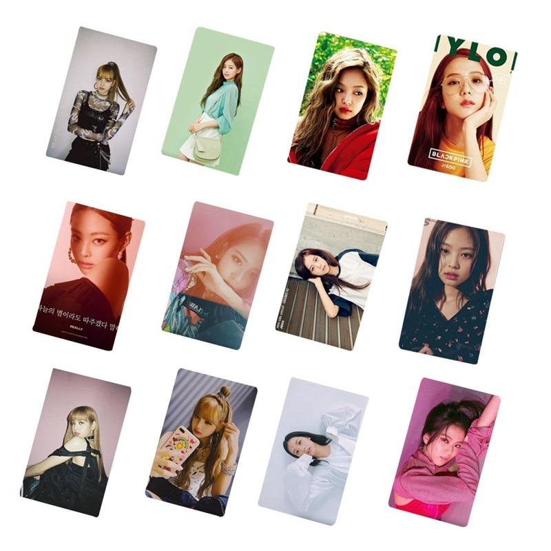 10pcs Kpop Blackpink Square Two Photo Card Sticker Crystal Albums Jisoo Jennie Sticky Photocard Poster