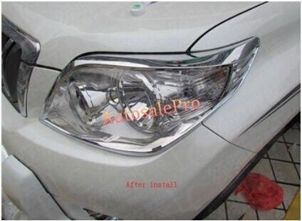 for Chrome Front Head Light Cover Trim Toyota Land Cruiser Prado FJ150 2010-2013