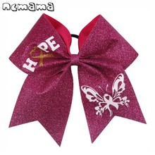 Breast Cancer Pink Cheer Bow Glitter Printed Hair With Elastic Ropes High Quality Handmade For Girls Accessories