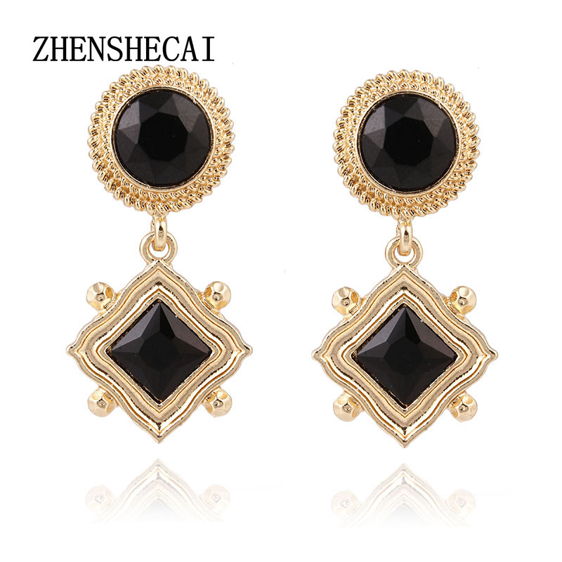 Gold Color Black Clear Crystal Wedding Long Earrings Round Shape Chandelier Earrings for Women Brides Bridesmaid e0148
