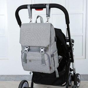 Image 4 - Nass Usb Mumie Mutterschaft Baby Windel Tasche Taschen Rucksack Organizer Für Mumie Mutter Mutterschaft Baby Taschen Für Mama Kinderwagen Windel tasche