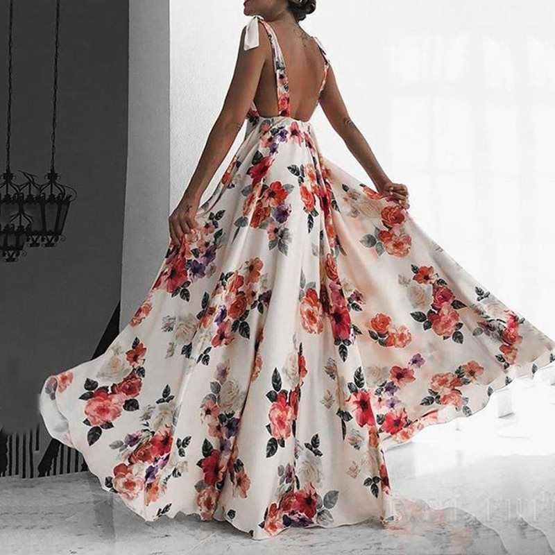 Femmes été Boho dos nu Sexy plage Maxi Robe élégante Robe florale impression Robe d'été vacances grand Swing une ligne blanc longues robes