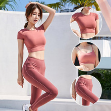 Women Yoga Suit Tight  Short Sleeve T-shirt + Sexy Bra High Waist Gym Pants 3PS/Sets Sets Female Fitness Sports Set