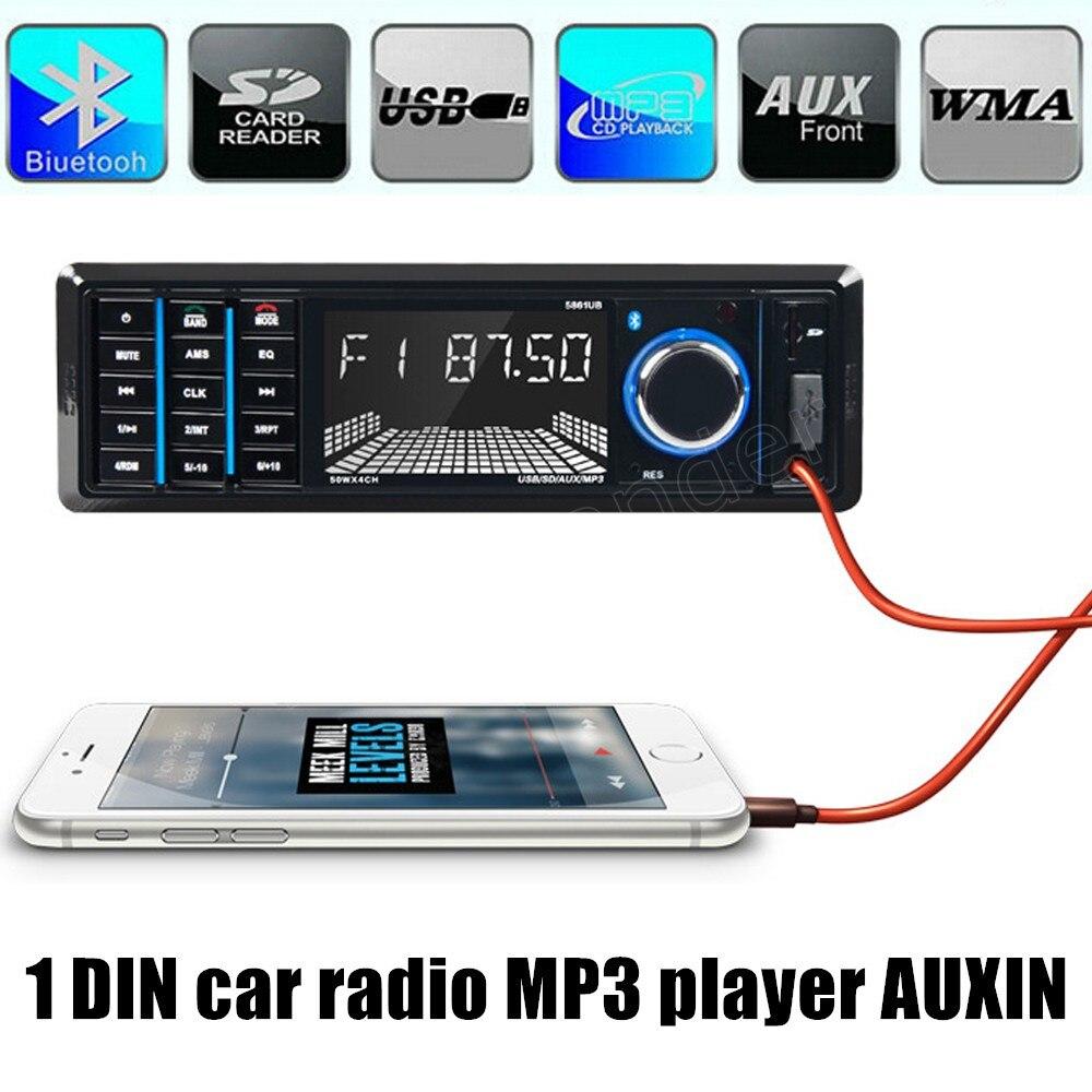1 din 12V Car font b Radio b font Player Bluetooth Stereo FM MP3 USB SD