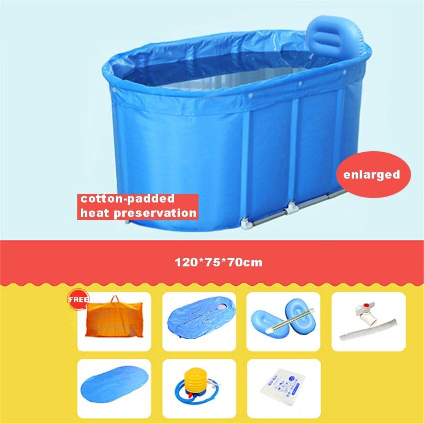 Yr001 adulto crianças banheira balde de banho de algodão-acolchoado dobrável barril de banho suporte de aço inoxidável com capa 120*75*70 cm-5