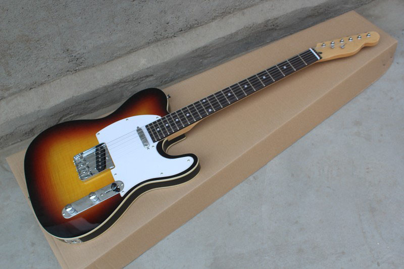 Free shipping Wholesale TL electric guitar,natural Brown TL guitar white Pickguard telecaster electric guitar   @20Free shipping Wholesale TL electric guitar,natural Brown TL guitar white Pickguard telecaster electric guitar   @20