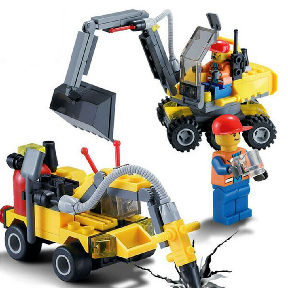 196pcs Building Blocks City Engineering Team Assemble DIY font b Toy b font Excavator Small Particles