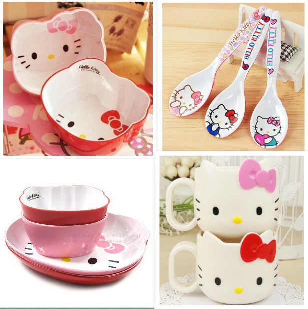 Hello Kitty tableware melamine cutlery dinner set dishes spoon cup bowl 4 pieces sets fruit buffet  sc 1 st  AliExpress.com & Hello Kitty tableware melamine cutlery dinner set dishes spoon cup ...