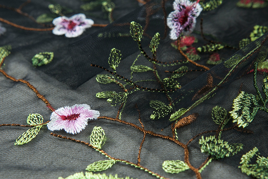 Image result for embroidered flowers mesh fabric