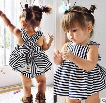 17 Summer Vestidos Baby Girl Dresses Princess Children Dress Stripe Baby Clothing Kids Girl Dress Brand Girls Clothes Costumes 1
