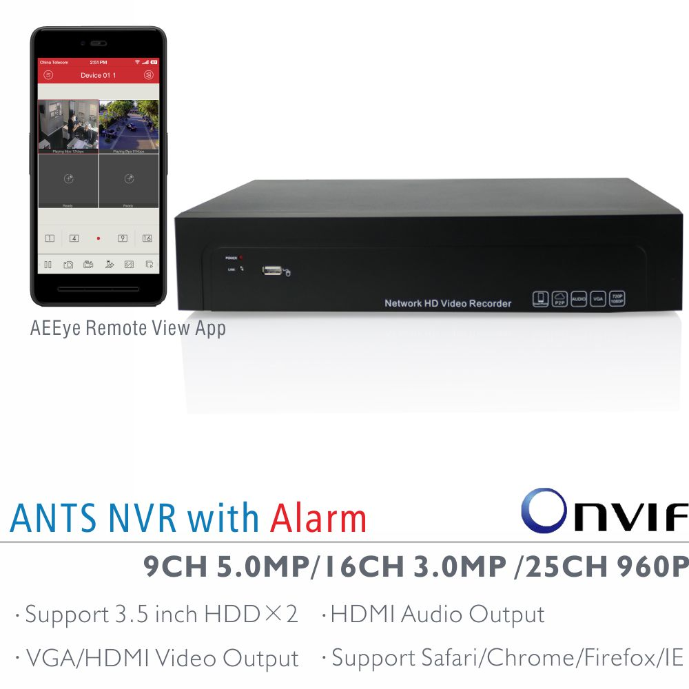 ANTS 9CH 5MP, 16CH 3MP, 25CH 960P Onvif NVR with AEEye Smartphone live view and playback App, 2CH Alarm in and 1CH Alarm out live giant lighted ecosystem ant habitat shipped with 25 live ants now 1 tube of ants