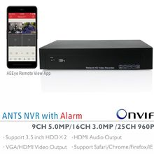 ANTS 9CH 5MP, 16CH 3MP, 25CH 960P Onvif NVR with AEEye Smartphone live view and playback App, 2CH Alarm in and 1CH Alarm out