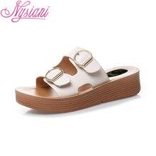 2019 Summer Split Leather Women Slippers Wedges Shoes Metal Decoration Fashion Womens Platform Shoes Sandals Lazy Shoes Nysiani