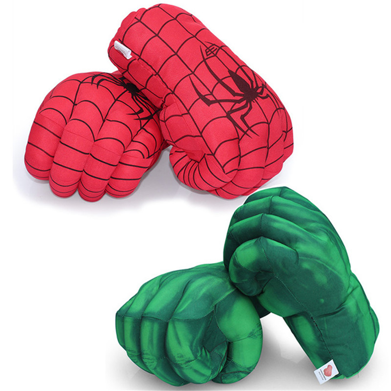 1 Pcs 28cm Cartoon Anime Hulk Spiderman Super Hero Boxing Glove Plush Stuffed Punching Fist Gloves Green Red Kids Toys Gift