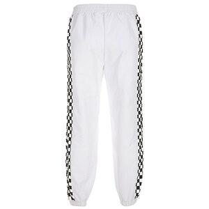 Image 3 - Женские брюки Weekeep с завышенной талией, белые клетчатые брюки карандаш в стиле пэчворк, в уличном стиле, с эластичным поясом
