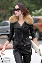 Fur Collar Leather Jacket Women Motocycle Coat For Lady Casual Suede clothes Autumn Female clothing Plus Size 957