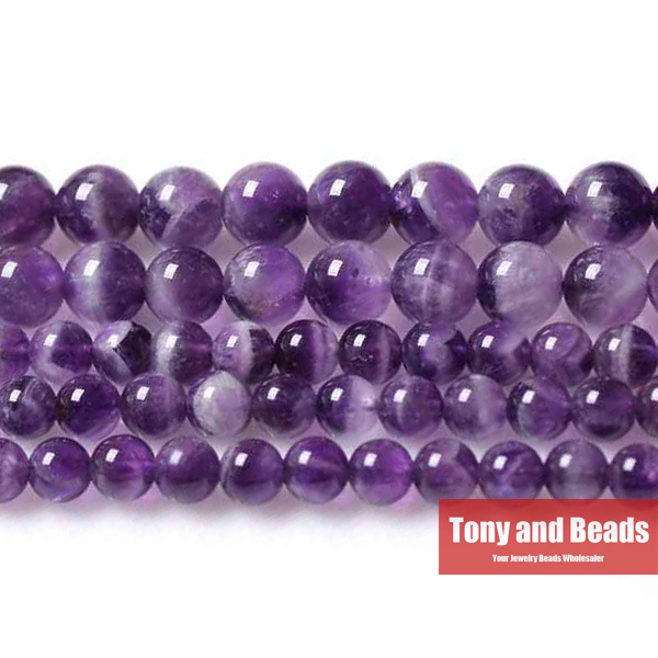 Natural Stone Purple Amatista Round Loose Beads 15 inch Strand 3 4 6 8 10 12MM Pick Size Jewelry Making No.SAB15 - Tony and store