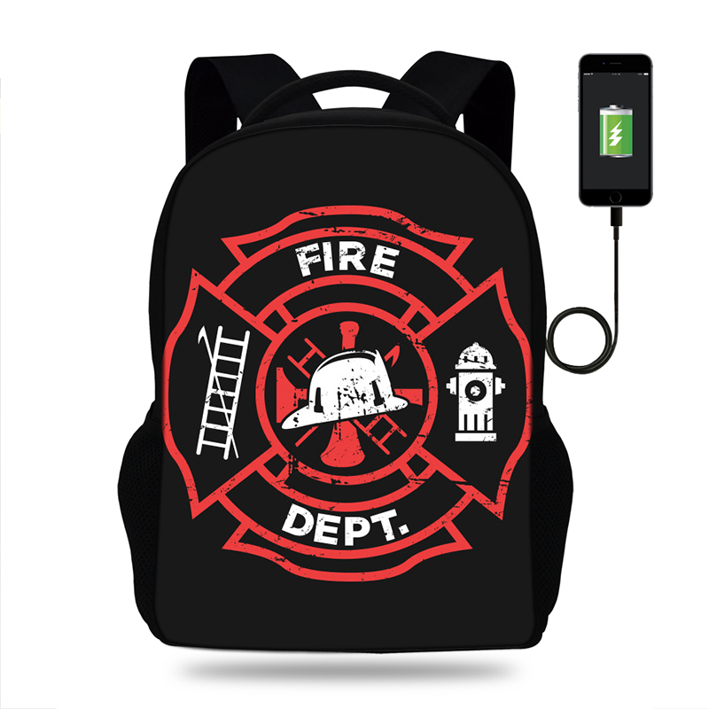 Mens Usb Charging Backpack Firefighter Logo School Bags Notebook Unisex Computer Rescue Axes Fire Backpack For Teenage Boys