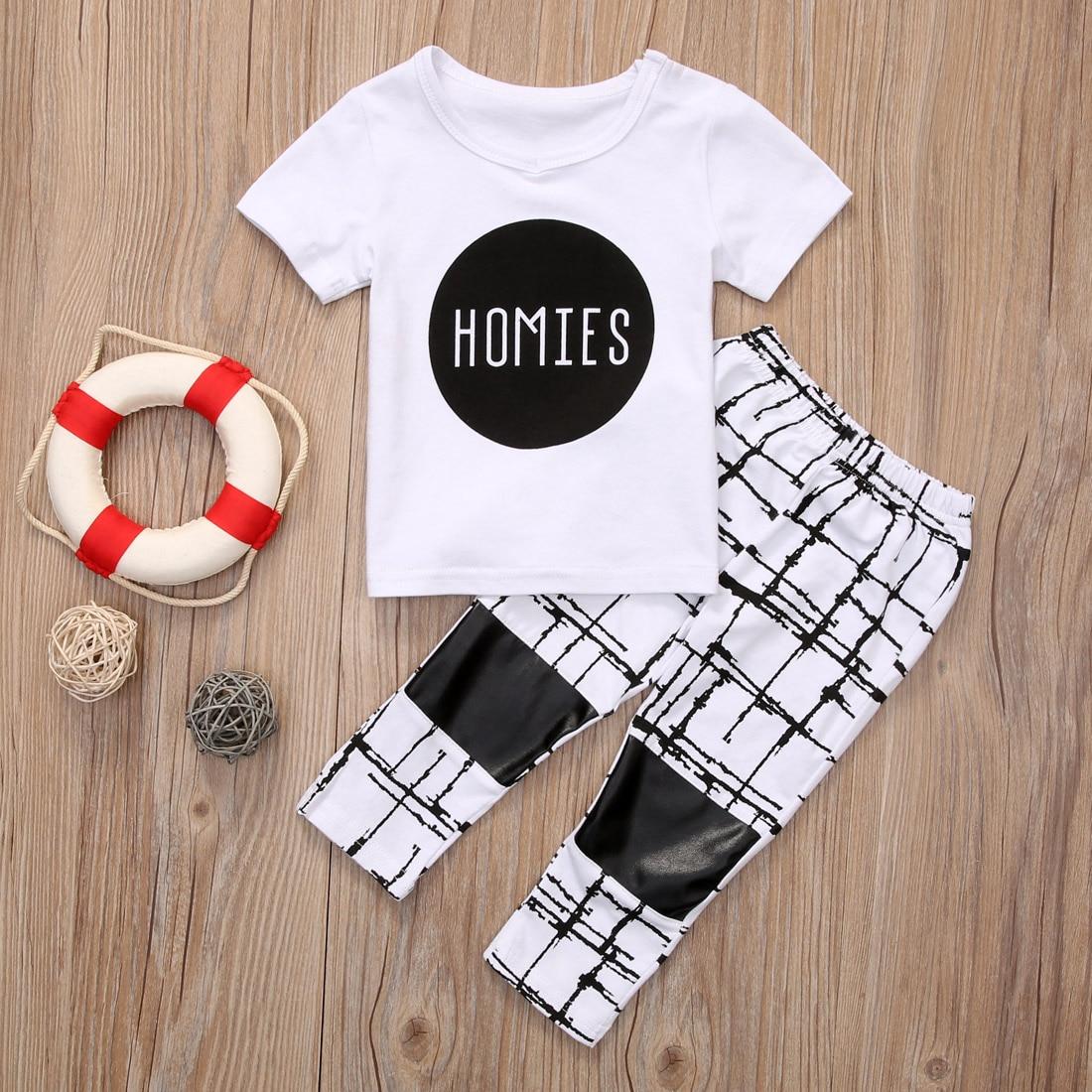 Хлопковая детская одежда лето 2 шт. для новорожденных одежда для малышей мальчиков Одежда для девочек Футболка Топ + штаны комплект Размеры ...