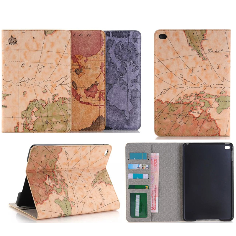 Retro World Map Cover for iPad pro 12.9 Ultra thin Card Smart Protective Case for Apple iPad pro 12.9 with Stand Holder