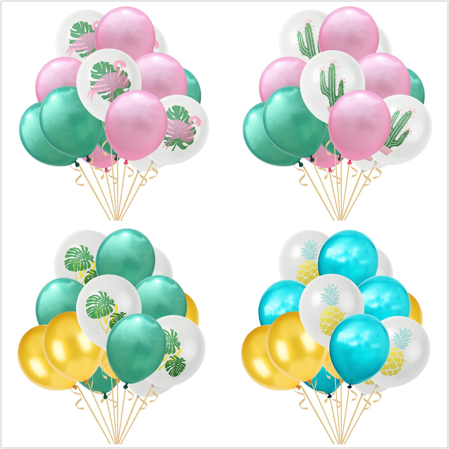 Considerate 15pcs/lot Hawaii Flamingos Pineapple Cactus Leaf Mix Color Balloons Wedding Decorations Summer Pool Tropical Party Supplies Home & Garden Event & Party