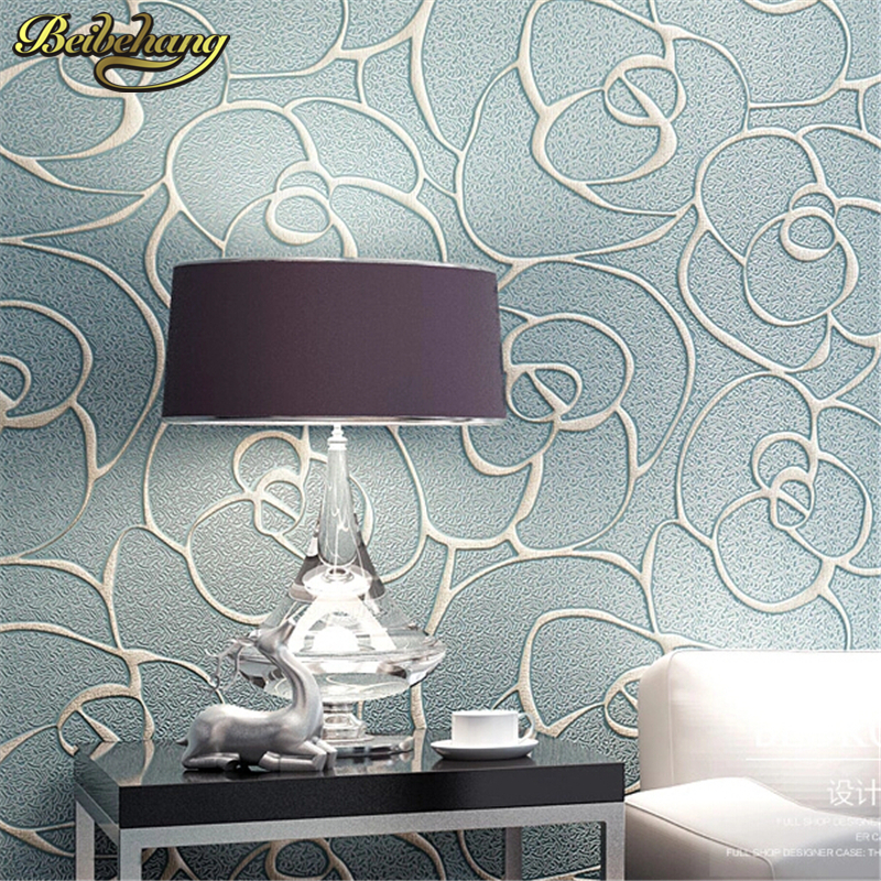 beibehang Relief Roses Wallpaper for Living Room Bedroom Mural Wall paper Roll Desktop TV