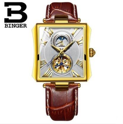 Binger Unique design style Double Tourbillon skeleton Watch Full Steel BINGER Casual Men Mechanical Wristwatch Automatic Watch 2 binger 100