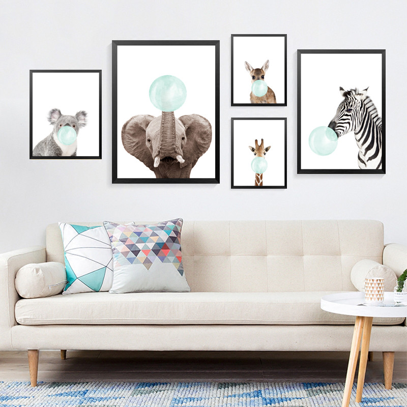 Blue Bubble Animals Posters And Prints Wall Art Canvas Painting, Wild Pictures For Children Room