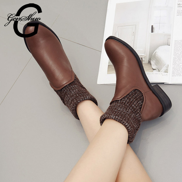 GENSHUO Women's Winter Boots Turned Over Socks Ankle Boots Short Plush Winter Shoes Woman High Heels Ankle Boots For Women Black
