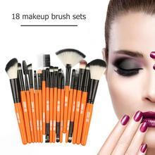 MAANGE 18PCS Professional Cosmetic Brush Set Soft Hair Fan-shaped Foundation Powder Eye Shadow Beauty Make Up Brushes Tool недорого