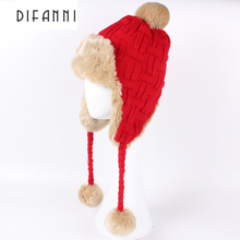 Difanni Winter Hat Bomber Hats For Men Women Thicken Balaclava Cotton Fur Winter Earflap Keep Warm Caps Russian Skull Mask 137