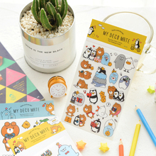 3pcs/lot Kawaii Writing bear love penguin Sticker For Diary Scrapbooking DIY Lovely Stationery