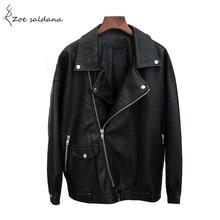 Zoe Saldana 2018 Boy Friends Style Zipper PU Leather Jacket Women Turn-down Collar Basic Jackets Ladies Loose Coat