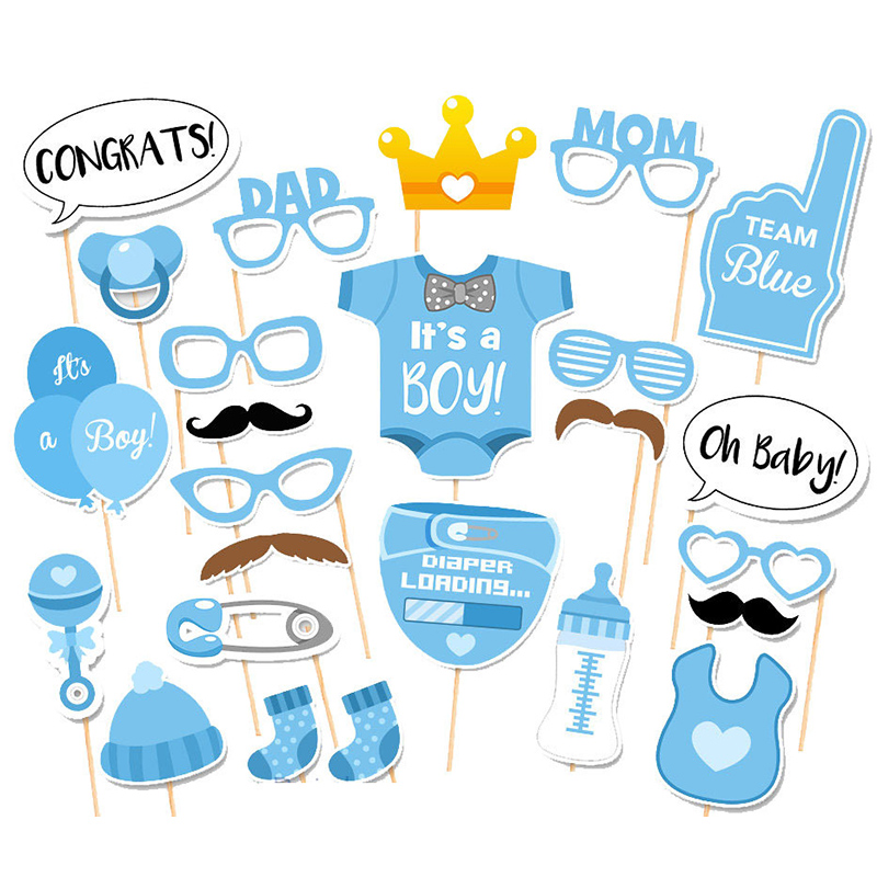 Baby Shower Photo Booth Props Its A Boy Girl Paper Diaper Favors Baptism Party Decorations Supplies Babyshower Photobooth