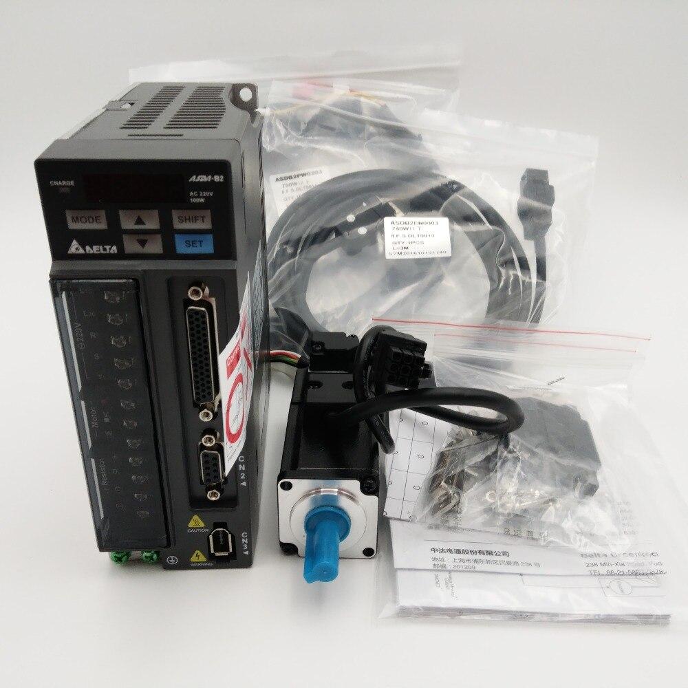 Дельта ЧПУ 100 Вт AC Servo Двигатель Привод комплекты Системы 220 В 0.32nm 3000 об./мин. 40 мм с сальник и 3 м кабель ecma-c20401gs + asd-b2-0121-b