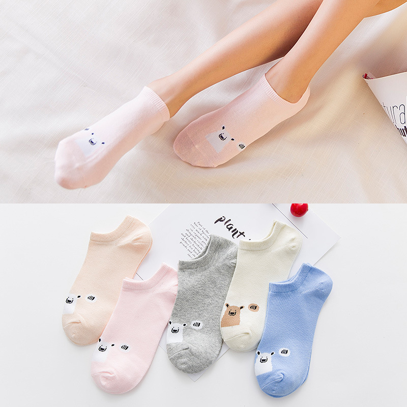 2Pair Lot Cotton Cartoon Female Socks Animal Pattern Casual Woman Socks Slippers New Spring Summer Short Ladies Boat Socks in Sock Slippers from Underwear Sleepwears