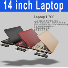 14.1Inch notebook laptop Intel celeron Dual Core 2GB RAM 320GB ROM 1366*768 Premium Sound 1.3M Webcam DVD ROM CD-ROM laptop(China (Mainland))