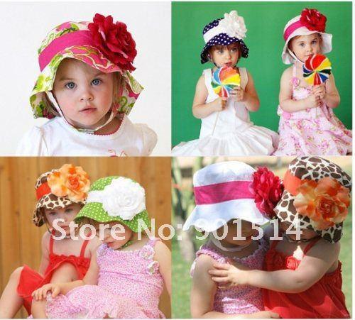 Hot sale 2016 Brand Baby Summer Flower Hat Girls caps Kids caps Free shipping