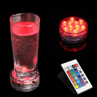 2pcs New Underwater Wireless Remote Control Led Multi Color Spotlight Multi Color Submersible 10LED Light Waterproof