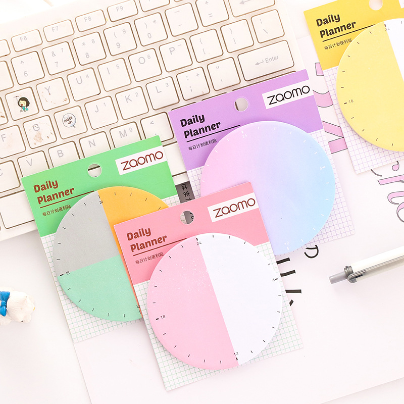 1pc Creative Plan Sheet Sticky Notes  Alarm Clock Gradient Posted Note