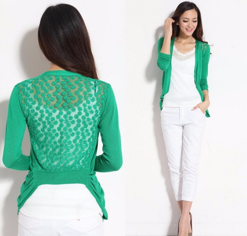 Spring Sweater Fashion Women Cardigan Lace Sweet Candy Pure Color Sexy Lady Slim Crochet Knit Blouse Sweater Cardigan Coat