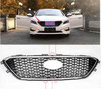 Quality Stainless Steel Chrome Front Center Grille Around Cover Trim Racing Grills case For Hyundai sontat9 2015 2017