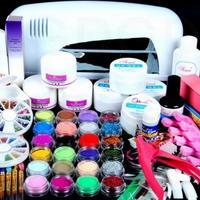Pro ALL In 1 Set Acrylic Liquid Nail Art Brush Glue Glitter Powder Buffer Tool Set