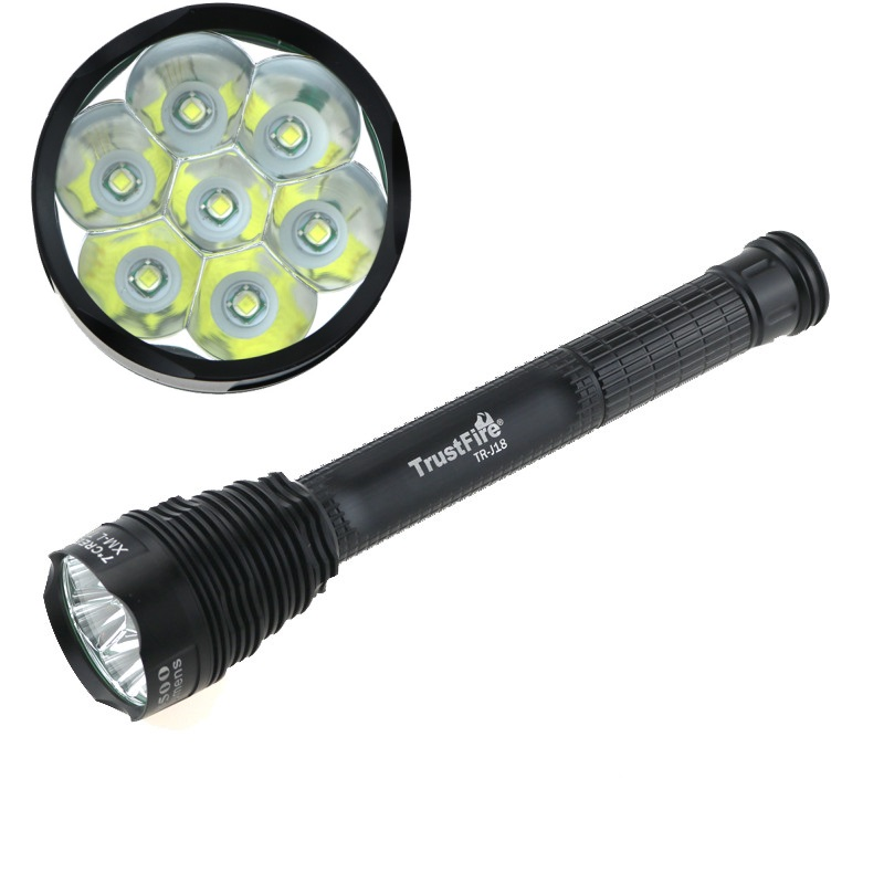 8500 lumen Trustfire J18 7xCree XM-L T6 Tactical Powerful led flashlight Hunting Lanterns 18650 / 26650 Battery Torch + Holster 9 xm l t6 outdoor hunting 20000lm tactical led torch light 5 mode super powerful led flashlight 18650 26650 battery charger