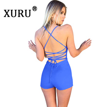 XURU Summer New Hot Jumpsuit Fashion Sexy Backless Strap Sling One-piece Shorts