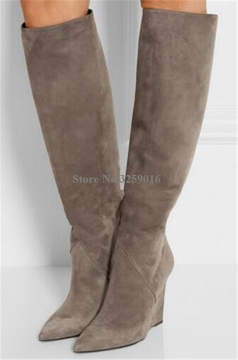 Winter Fashion Style Pointed Toe Suede Leather Knee High Wedge Boots Black Grey Height Increased Long Wedge Boots Warm BootsWinter Fashion Style Pointed Toe Suede Leather Knee High Wedge Boots Black Grey Height Increased Long Wedge Boots Warm Boots